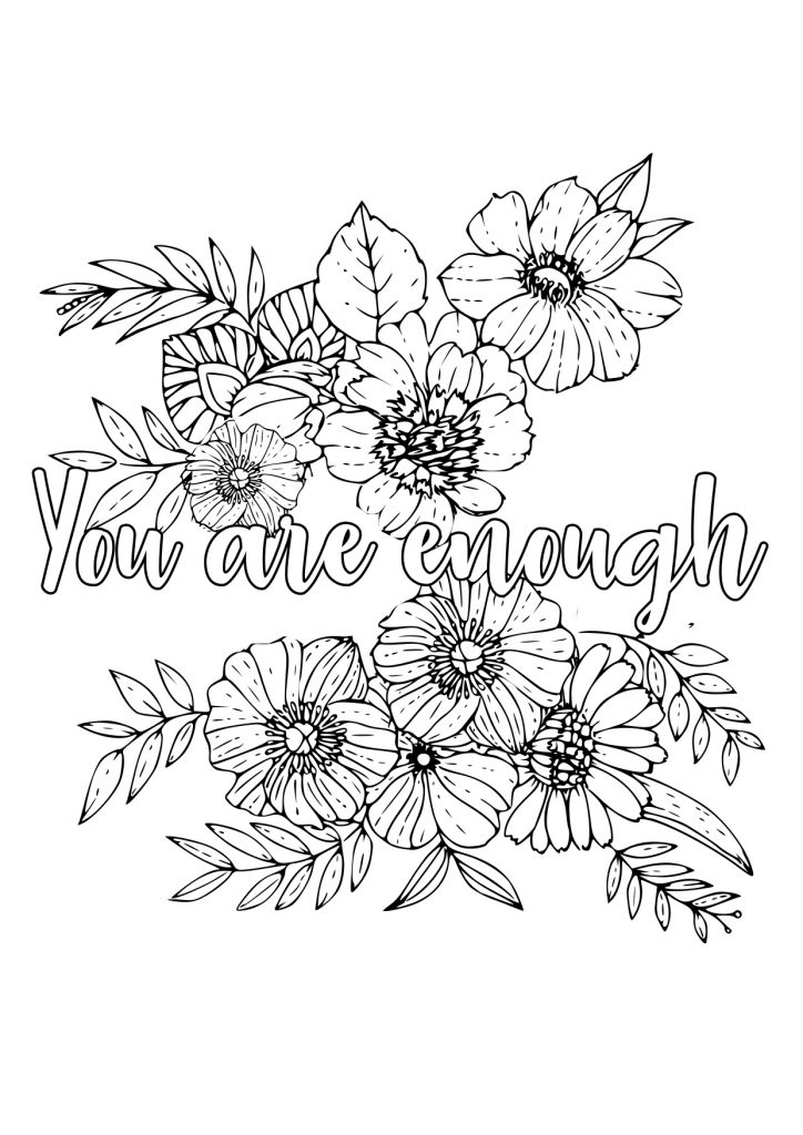 adult colouring page floral quote
